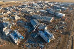 Aerial photograph of the construction site at Chisholm Road