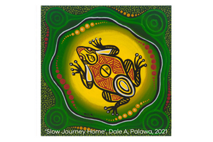 Artwork 'Slow Journey Home', Dale A, Palawa, 2021 - depicting a vibrant yellow frog sitting on green background